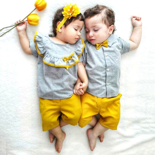 Sister Brother Summer Clothes Baby Girl Boy Short Sleeve T-Shirt Tops+Solid Shorts Siblings Matching Infant Twins Casual Outfits