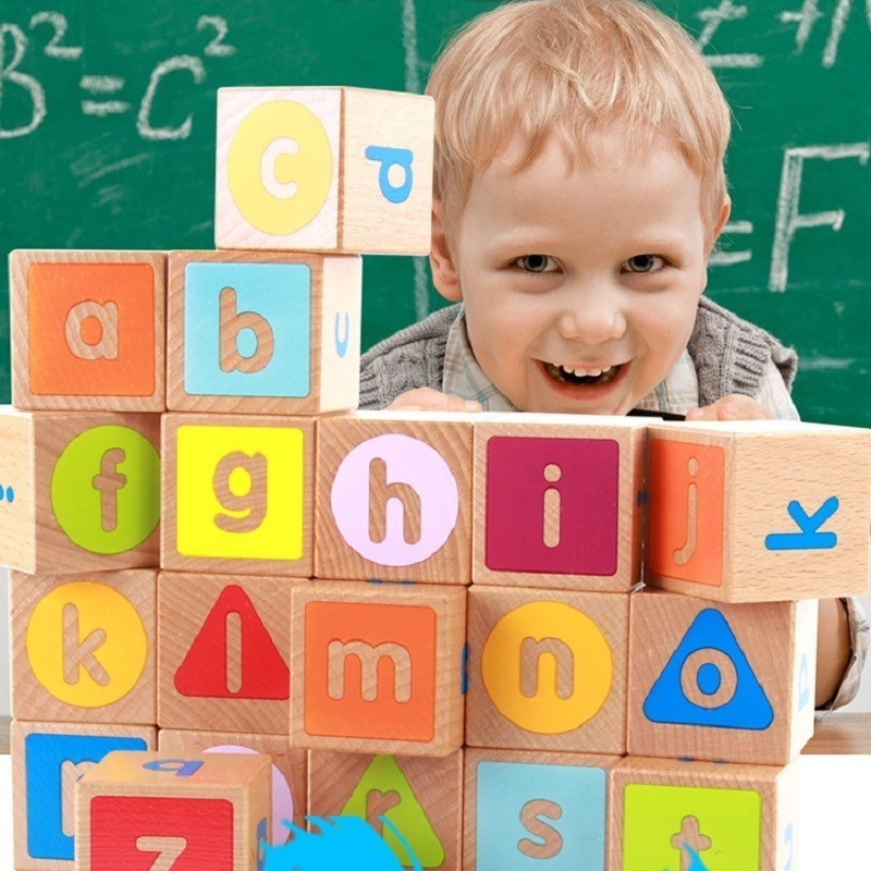 Blocs de lettres en bois Alphabet pour enfants ABC jouets d'apprentissage pour les enfants d'âge préscolaire