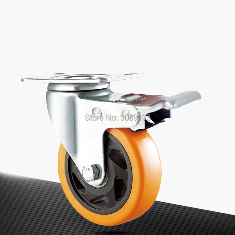 New design  3 inch 4 5 Medium-sized orange PVC damping caster wheel