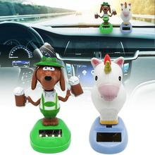 New Car Decoration Animal Toy Personality Cute Car Interior Decoration Solar Auto Beer Dog Unicorn Shaking Head Doll цена