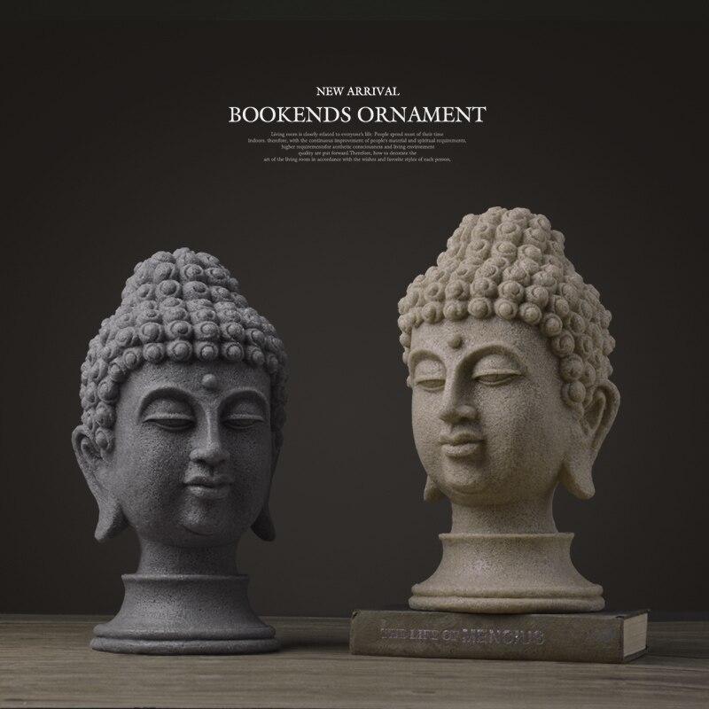 Bouddha statue Figurines chinois bouddha statue pour jardin résine grand bouddha tête grès statue décor bouddha décoration