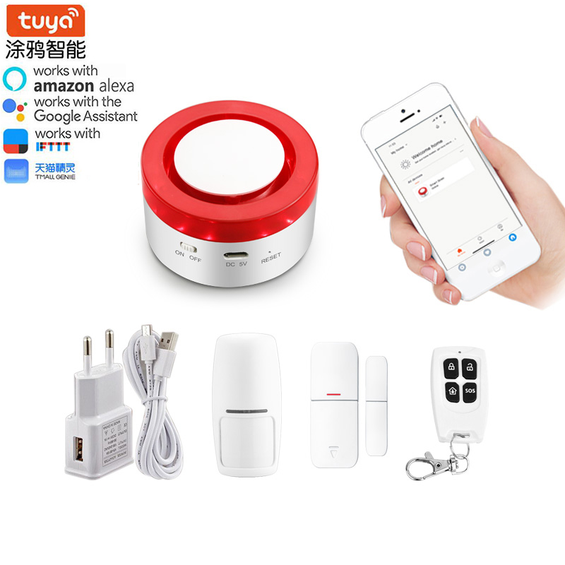 Tuya Smart home security system WiFi Siren Alarm Compatible with Alexa Google home IFTTT Strobe siren