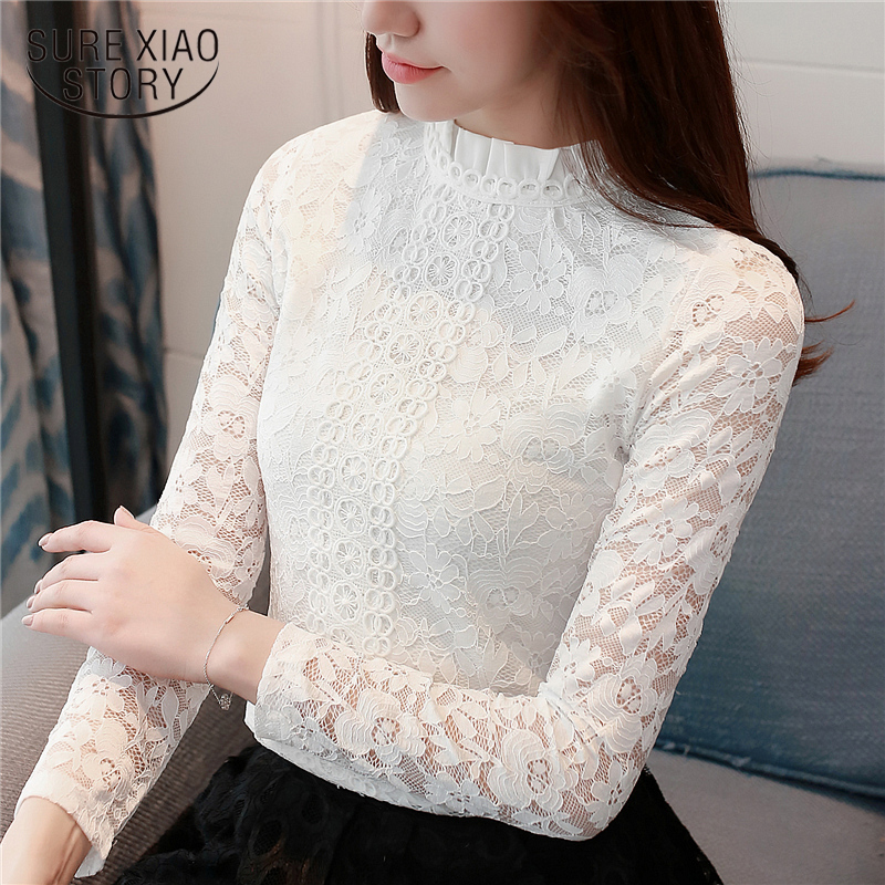 fashion woman   blouses   2019 clothes women tops long sleeve women   shirts   pink hollow lace   blouse     shirt   blusas femininas 1516 45