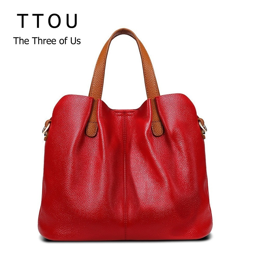 купить TTOU Women's 100% Genuine Leather Handbags Fashion high Quality Shoulder Bags Genuine Leather Bolsa Tote Bag по цене 2243.24 рублей