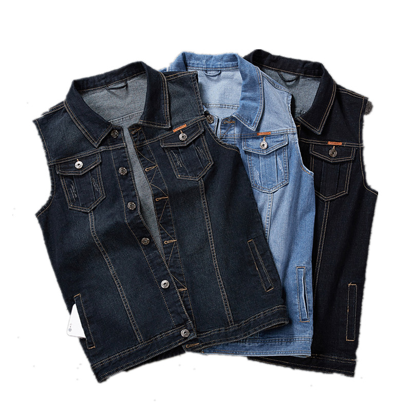 <font><b>Plus</b></font> <font><b>Size</b></font> 8XL 7XL <font><b>6XL</b></font> <font><b>Clothing</b></font> Spring Denim Vests <font><b>Men's</b></font> Sleeveless Cowboy Jackets Male Vintage Casual Vest Jeans Man Waistcoat image