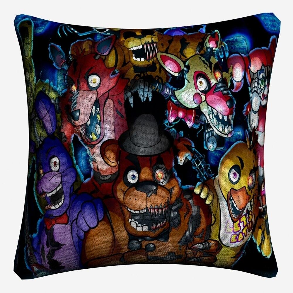 Five Nights At Freddys Game Cotton Linen Cushion Cover 45x45cm Decorative Pillow Case Sofa Home Decor Pillow Covers Almofada in Cushion Cover from Home Garden