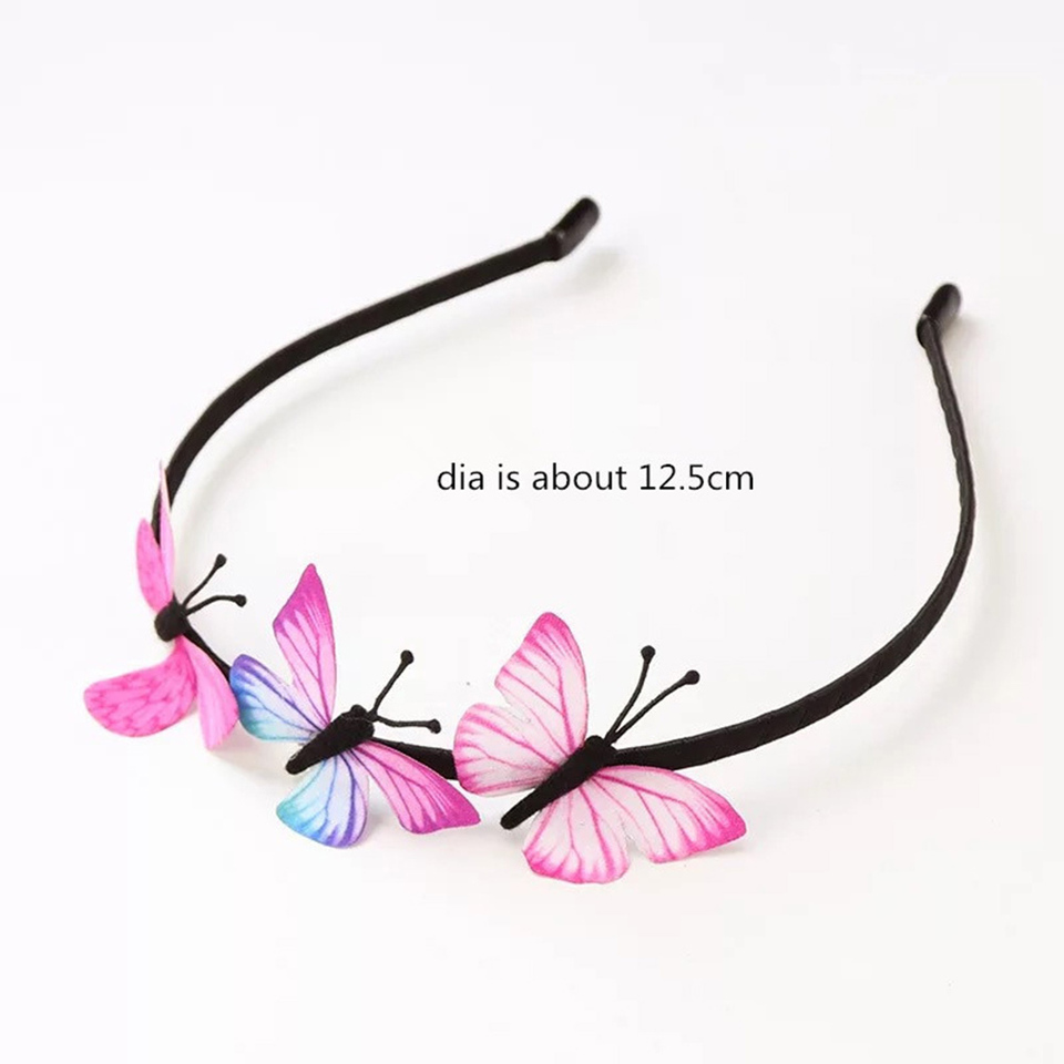 GIRLS SMALL SIZE ELASTICATED STRETCH HEADBAND HEAD BAND BUTTERFLY PINK OR WHITE