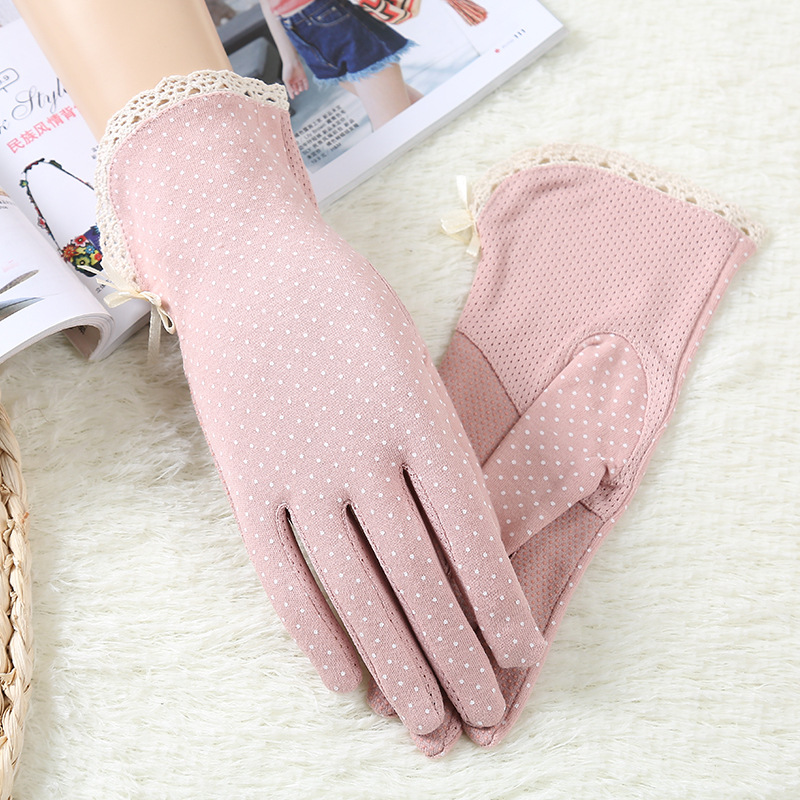 New Women Lace Gloves Summer Elegent Girls Thin Mittens Cotton Decent Thin Formal Driving Gloves Touch Screen Mittens Morewin(China)