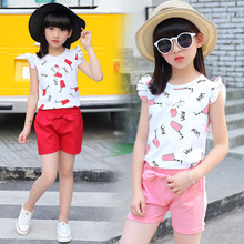 Girls suit summer cotton 2019 new letter short-sleeved T-shirt + shorts children's clothing  baby clothes 2017 autumn new born baby girls clothing sets infant long sleeved letter cotton t shirt