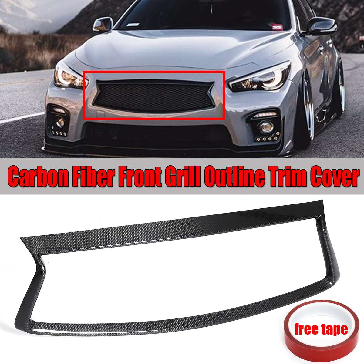 1x Real Carbon Fiber Car Front Bumper Grille Grill Outline Moulding Trim Cover Overlay For Infiniti