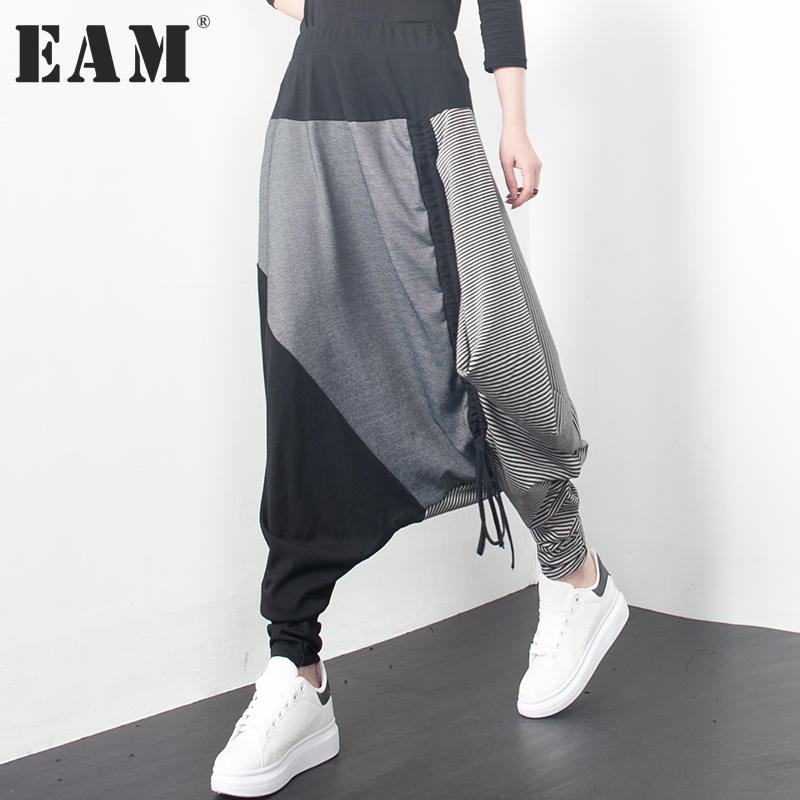 [EAM] 2019 New Spring High Waist Solid Color Gray Striped Split Joint Cross-pants Women Fashion Tide All-match JD22602S