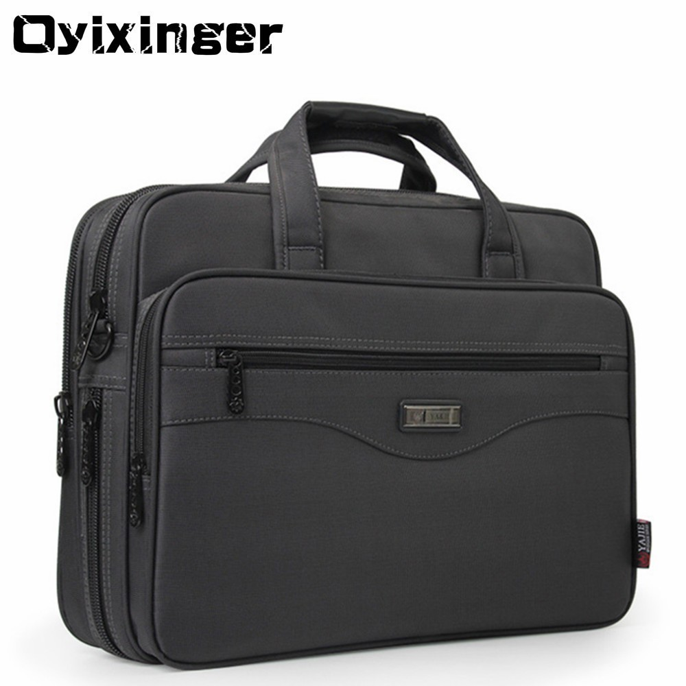 "OYIXINGER Men Briefcase Laptop Bags Good Nylon Cloth Multifunction Waterproof 15.6"" Handbags Business Shoulder Men's Office Bags"