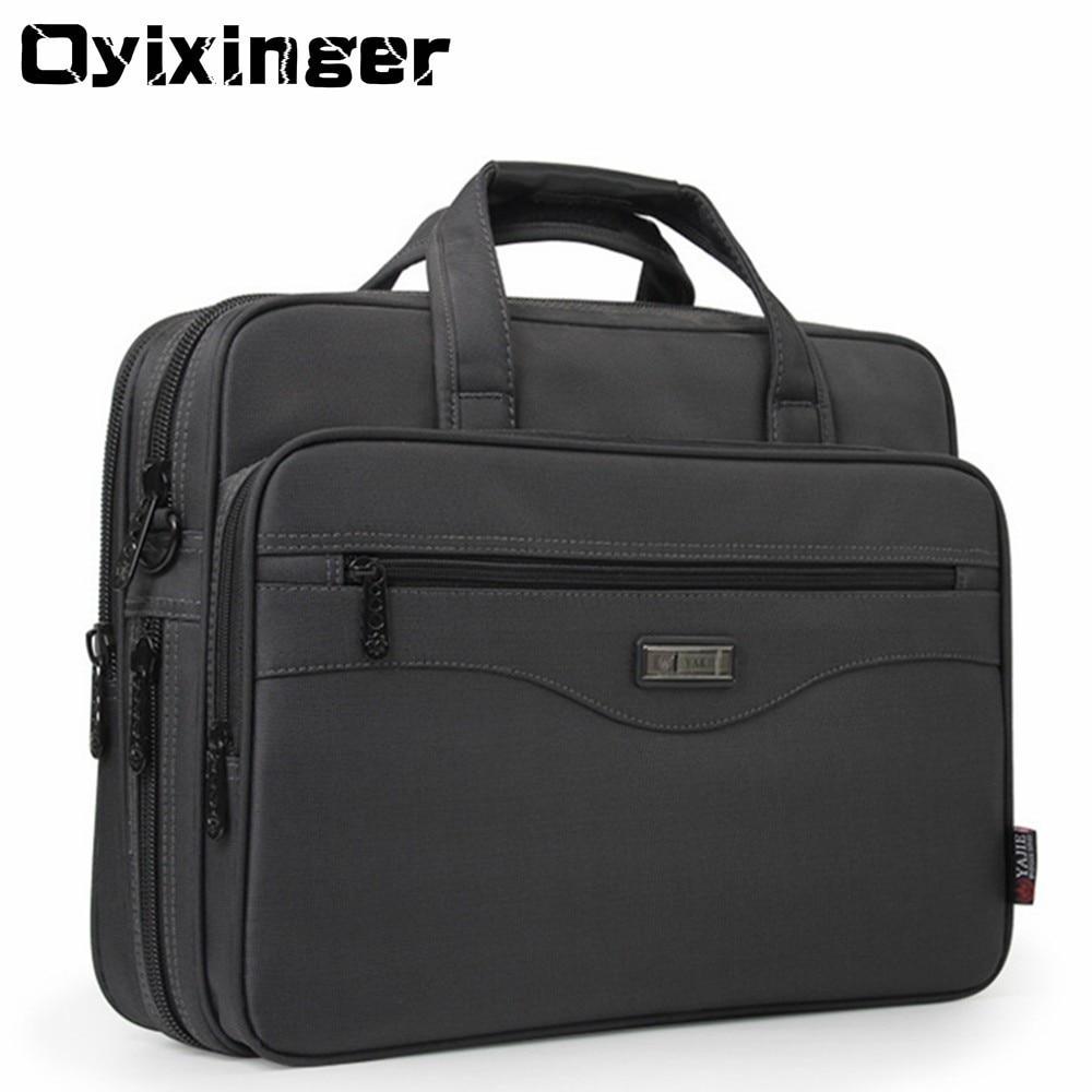 OYIXINGER Men Briefcase Laptop Bags Good Nylon Cloth Multifunction Waterproof 15.6