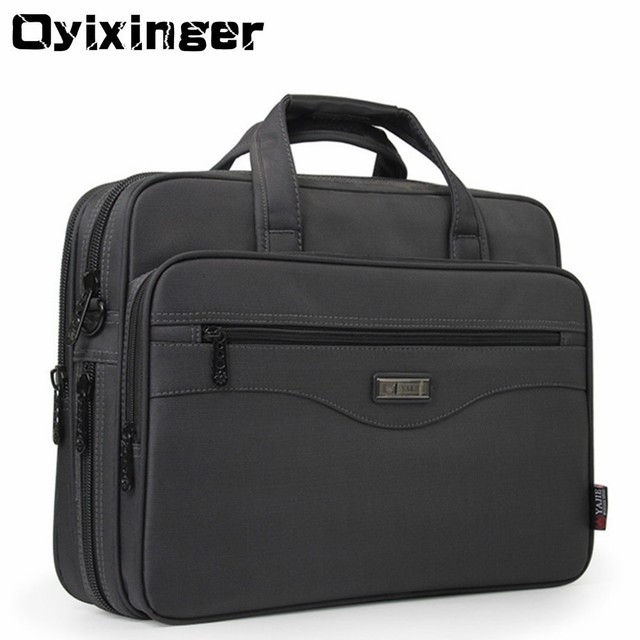 "OYIXINGER Men Briefcase Laptop Bags Good Nylon Cloth Multifunction Waterproof 15.6"" Handbags Business Shoulder Mens Office Bags"