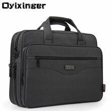 OYIXINGER serviette en tissu Nylon pour hommes, porte documents sacs pour ordinateur portable, étanche, sac à main multifonction, sac de bureau à bandoulière 15.6 pouces