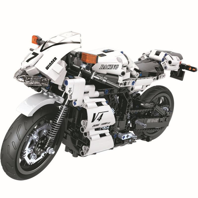 Oyuncaklar ve Hobi Ürünleri'ten Bloklar'de 716pcs Creator Technic Street Motorcycle Building Blocks Kits Bricks Classic City Moto Model Kids Gift Toys'da  Grup 1