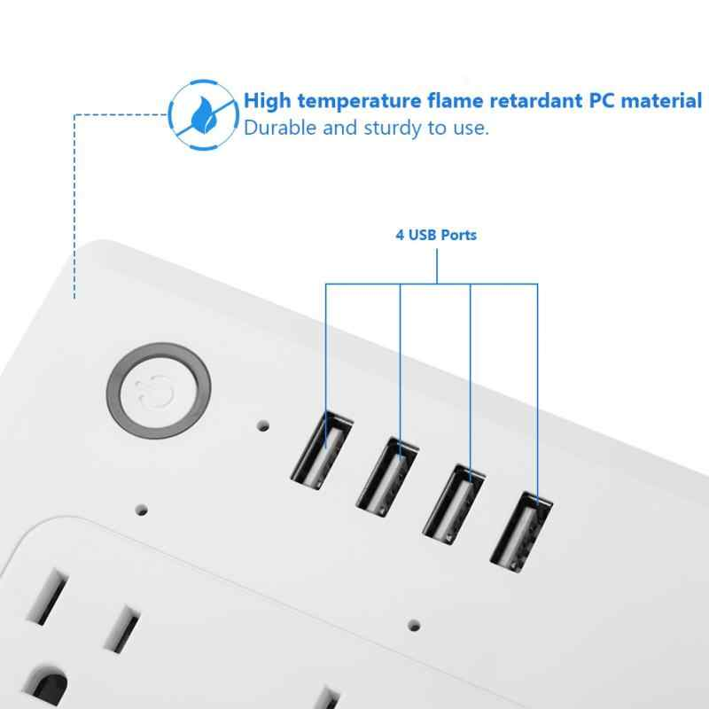 WiFi inteligentny Outlet 4 gniazdo USB Power Strip Surge Protector wtyczki Voice Controlled 100-240 V US nowy nowy