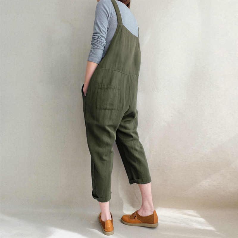 Комбинезоны брюки комбинезон карман Слинг сплошной цвет женские свободные