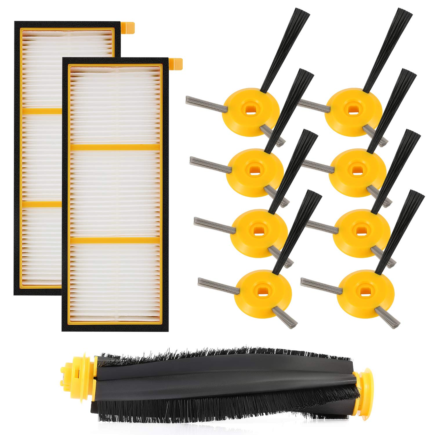 EAS-Replenishment Kit Compatible Shark Ion Robot Rv750, Rv720, Rv700, Rv750C, Rv755. 11 Pack (1 Main Brushroll & 2 Filters & 8
