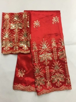Gold Red 5yards African George Fabric +2yards French Sequin Net Lace Sets High Quality Afican George Lace Fabric For Wedding