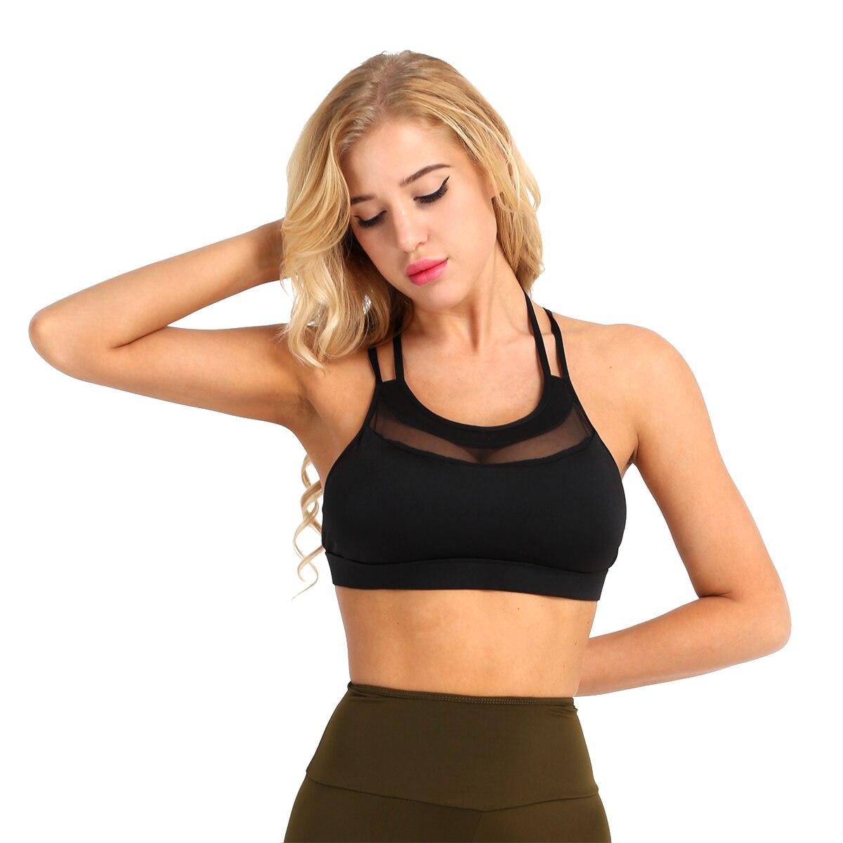 Women Sports Gym Fitness Bra Cross-Strap Splice Ventilated Top Support Bralette