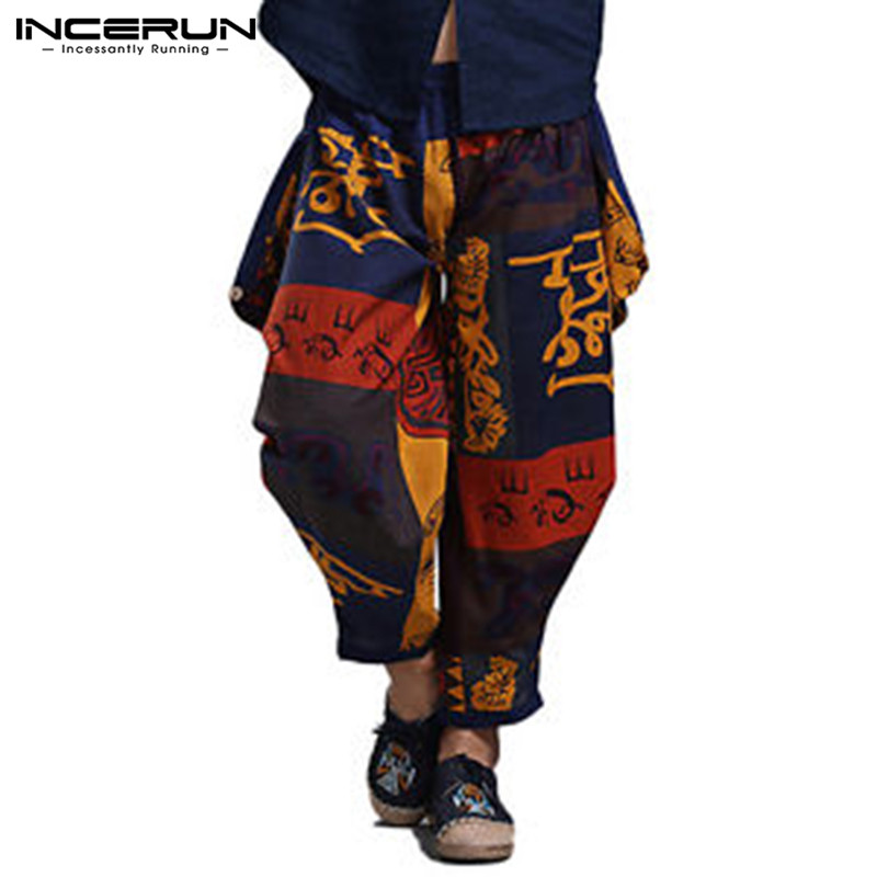 INCERUN 2019 Men Harem Pants Joggers Ethnic Style Print Elastic Waist Pants Hip-hop Loose Cotton Casual Trousers Men Plus Size
