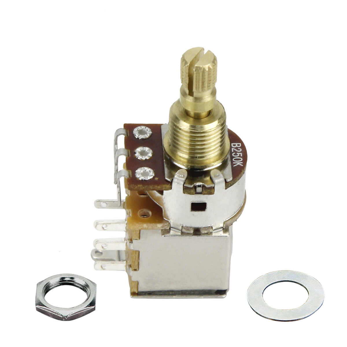 FLEOR 1PCS B250K Guitar Potentiometer Push Push Potentiometer & DPDT Switch Linear Tape Short Split Shaft (Don't Pull Anymore)