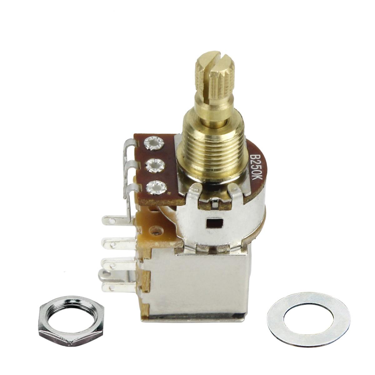 fleor 1pcs b250k guitar potentiometer push push potentiometer dpdt switch linear tape short split shaft don t pull anymore  [ 1200 x 1200 Pixel ]