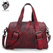 Original Design Genuine Leather Women Handbag Rivet Decoration Totes Cowhide Hand Brush Color Messenger Vintage Shoulder Bag
