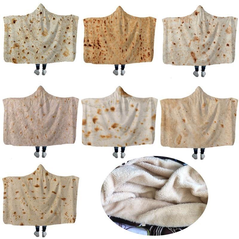 3D Printed Tortilla Texture Hoodie Blanket Tortilla Soft Warm Travel Airplane Sherpa Fleece Sofa Bed Throw Burrito Blanket in Blankets from Home Garden