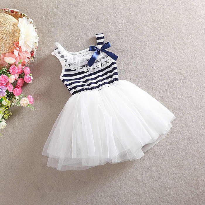 Çizgili Bow Tie gazlı bez küçük kız çocuk giyim yaz elbise yeni kız kısa kollu kore versiyonu saf pamuk kolsuz