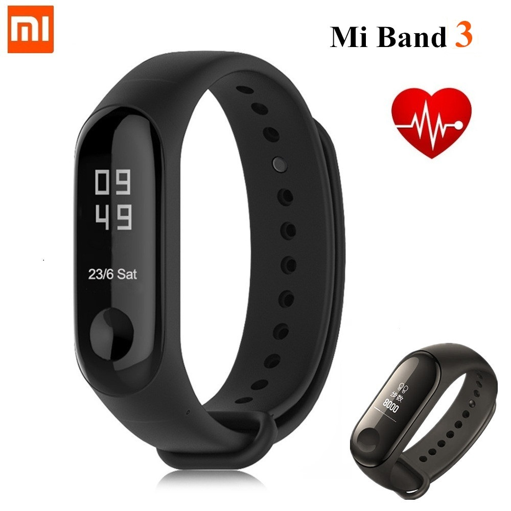 Xiao mi mi Banda 3 Pulseira Inteligente Rastreador De Fitness Heart Rate Monitor Display OLED Touchpad Bluetooth 4.2 Pulseira À Prova D' Água