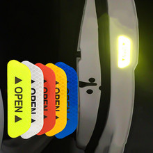 Hiyork 4Pcs/Set Car OPEN Reflective Sticker Tape Warning Mark Bicycle Accessories Door Stickers DIY Styling Cover
