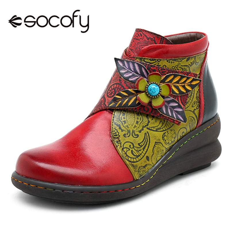Socofy Casual Sport Ankle Boots For Women Sneakers Retro Genuine Leather Splicing Hook&Loop Wedge Low Heel Women Boots Shoes NewSocofy Casual Sport Ankle Boots For Women Sneakers Retro Genuine Leather Splicing Hook&Loop Wedge Low Heel Women Boots Shoes New
