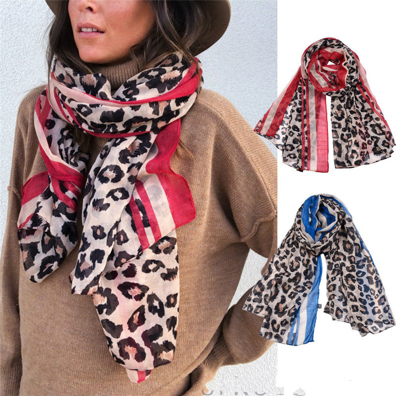 Women Long Leopard Print Brown Red Blue   Scarf   Shawl Winter   Scarves     Wraps