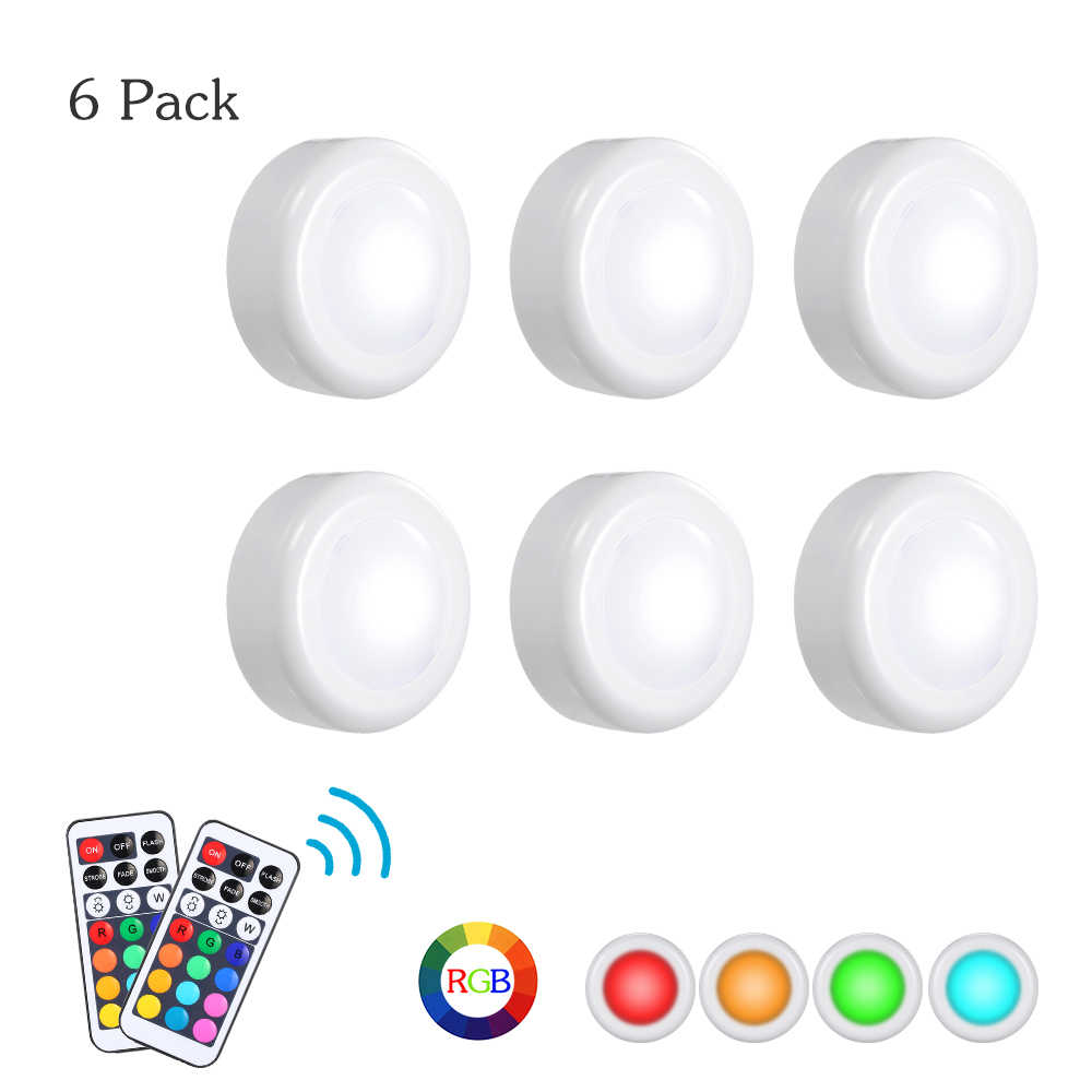 Светодиодная лампа RGB, светодиодная лампа для шкафа, 6 шт. в упаковке, с 2 13 видов цветов пульта дистанционного управления для гардеробной, кухонного шкафа