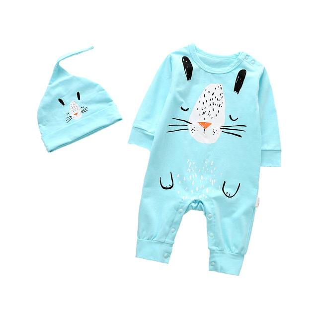ALLAIBB One Piece Baby Rompers Long Sleeve Footless Cotton