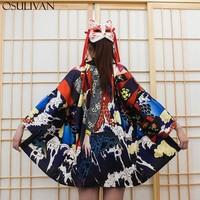 OSULIVAN Summer Kimono Woman Shirts Casual Blouse Women Bluse Womens Tops And Blouses Japanese Cosplay Streetwear Loose Wave