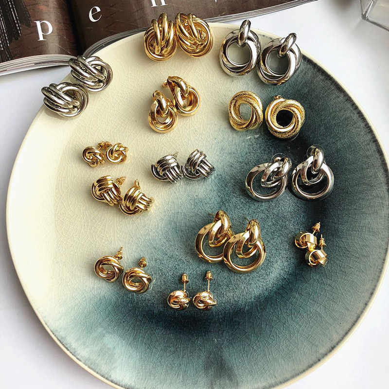 Vintage ZA Maxi Statement Drop Earrings Gold Silver Color Party Wedding Fashion Jewelry Punk Drop Earrings for Women Bijoux