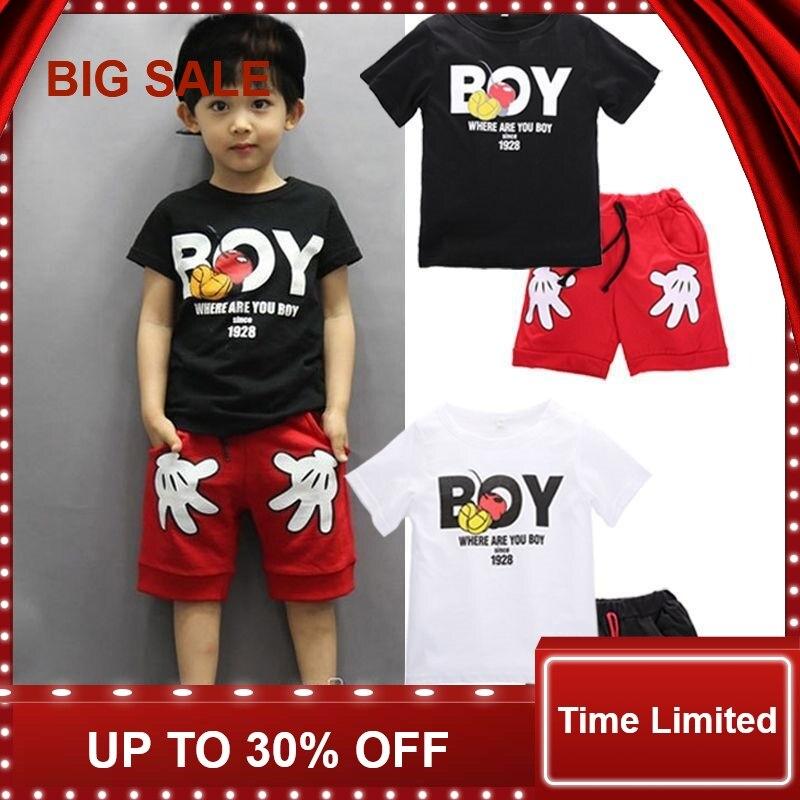 Toddler Baby Boy Cartoon Clothes Sets Short Sleeve Shirt+ Cute Shorts Summer Children for boy