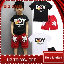 Toddler Baby Boy Cartoon Clothes Sets Short Sleeve Shirt+ Cute Shorts Summer Children for boy
