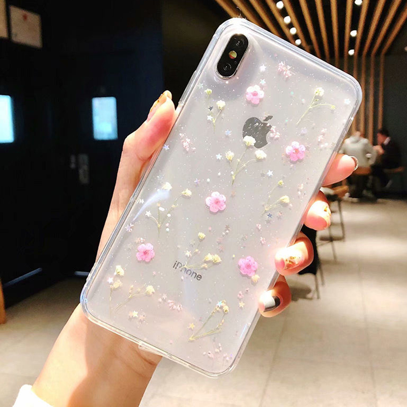Real Flowers Dried Flowers Transparent Soft TPU Cover <font><b>Case</b></font> For <font><b>iPhone</b></font> X 6 6S 7 8 plus Clear Floral <font><b>Phone</b></font> <font><b>Case</b></font> For <font><b>iphone</b></font> XS Max image