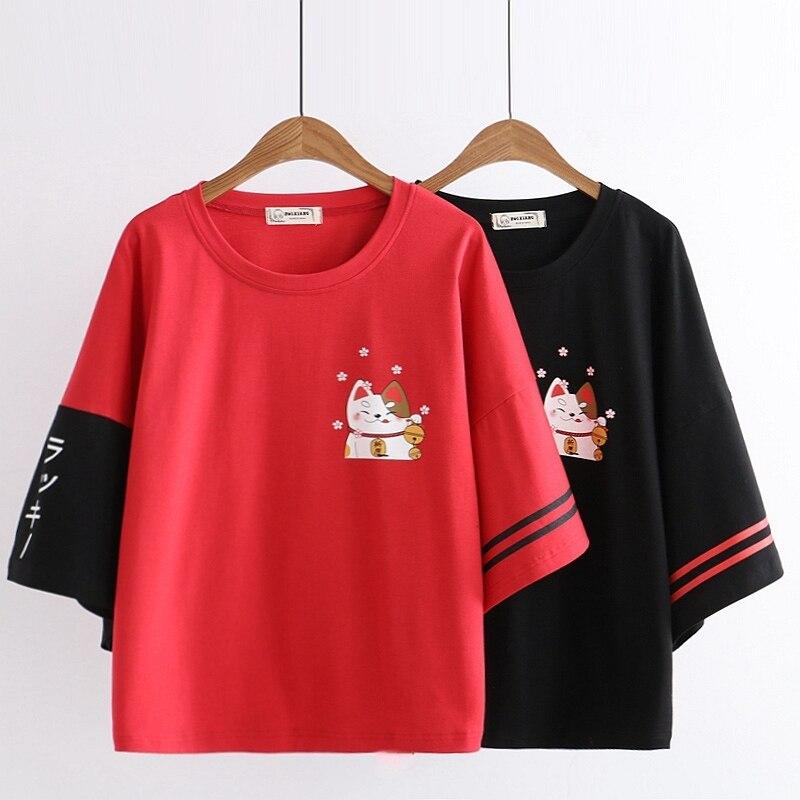 Summer Mori Girl T Shirt Japanese Harajuku Cute Graphic Fortune Cat Women TShirt Female Black Red Tops Kawaii Teen Tee Shirts