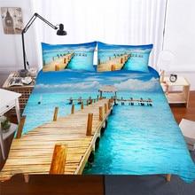 מצעי סט 3D מודפס שמיכה כיסוי מיטת סט ים גל טקסטיל מבוגרים כמו בחיים מצעי עם ציפית # HL04