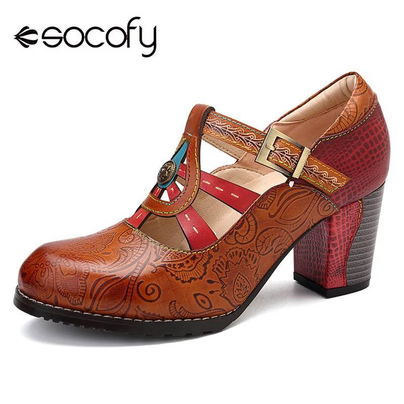 SOCOFY Pumps Heel-Leather Shoes Women Chunky Elegance Retro Vintage New Bohemian Hook-Loop