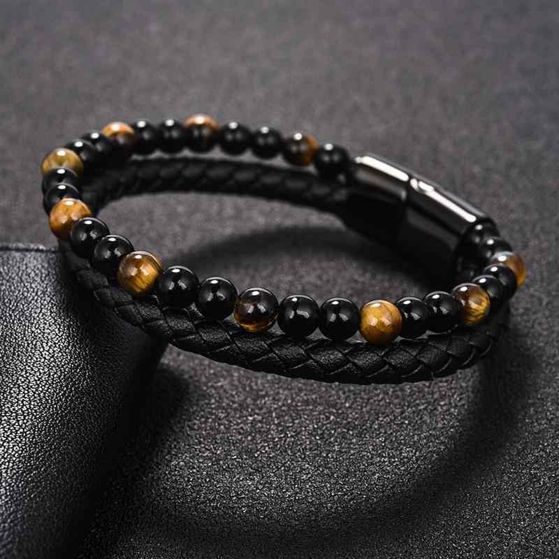 "Jiayiqi 6 מ""מ טבעי אבן גברים צמיד שחור אמיתי עור מגנטי אבזם צמיד 18.5/20.5/22cm זכר תכשיטים"