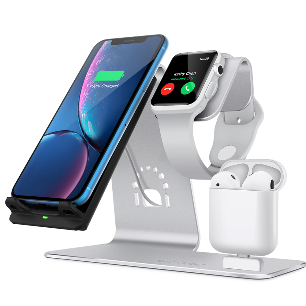 Bestand best seller Aluminum 3 in 1 Wireless Charger stand For iPhone Qi Fast Charge Dock