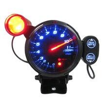 """3,"""" тахометр манометр комплект синий светодиодный 11000 об/мин Метр с регулируемым сдвигом светильник+ шаговый двигатель черный"""