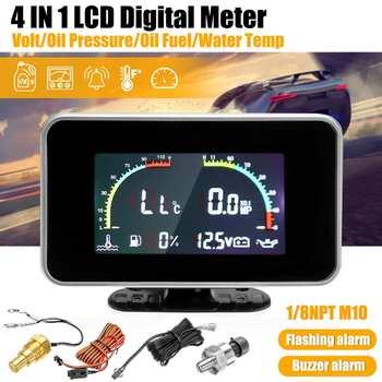 12-24V uniwersalny 4w1 LCD samochód cyfrowy budzik miernik woltomierz ciśnienie oleju termometr do wody paliwa z kablem tanie i dobre opinie Autoleader as the picture show Plastic Shell 0 31 kg Gauge
