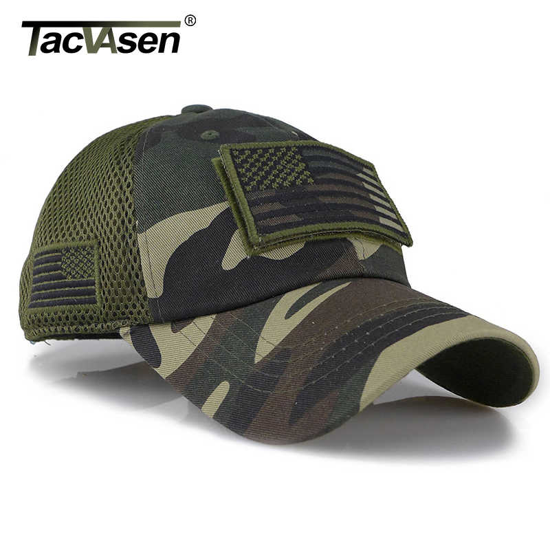 TACVASEN ยุทธวิธี Camouflage หมวกเบสบอลชายฤดูร้อนตาข่ายกองทัพทหารหมวกสร้าง Trucker หมวกหมวก USA FLAG Patches